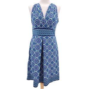 Max Studio Patterned V-Neck Jersey Dress Size M
